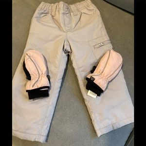 Girls waterproof snow pants and mittens-  2T-3T
